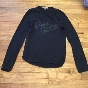 See by Chloe l/s black graphic crewneck shirt - 8